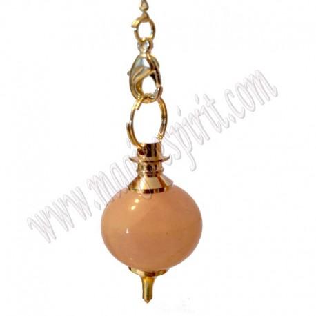 Péndulo Mermet cuarzo rosa baño y minerales chakras