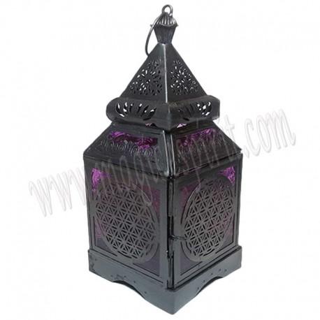 Farolillo Flor de la vida negro con cristal violeta