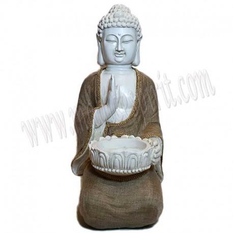 Figura Buda portavelas con túnica